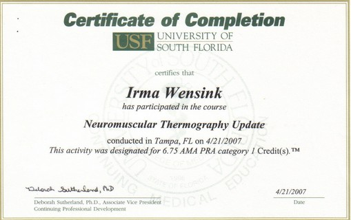 Certificate Neuromuscular Thermography, Tampa '07